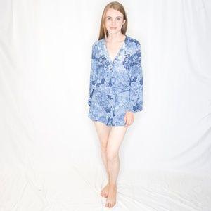INTERMIX Blue Denim & Floral Print Romper S 0336